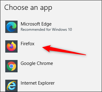 choose app to set as default browser in windows 10