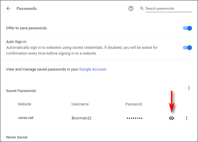 click on the eye to view passwords in google chrome