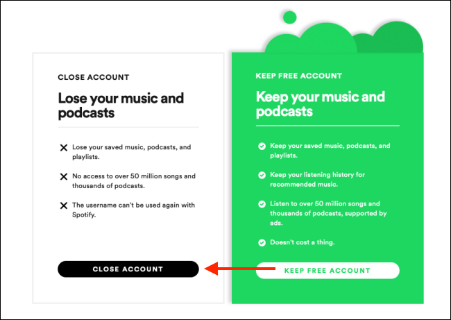 close account option on spotify web