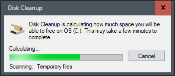 disk cleanup will calculate the space that could be freed up