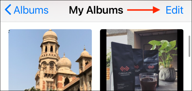 edit the albums in photos app on iPhone