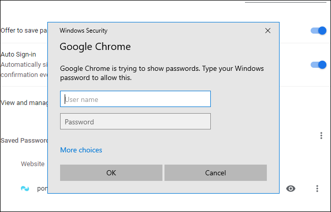 enter the usename and password of the pc to view passwords in google chrome