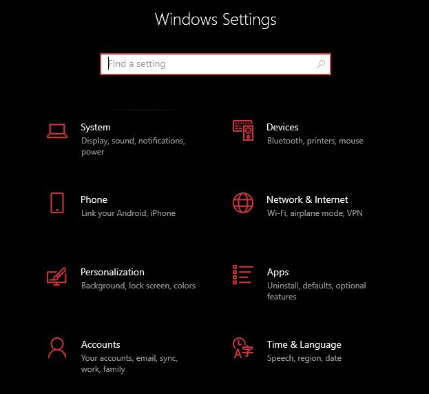 network and internet settings in windows settings