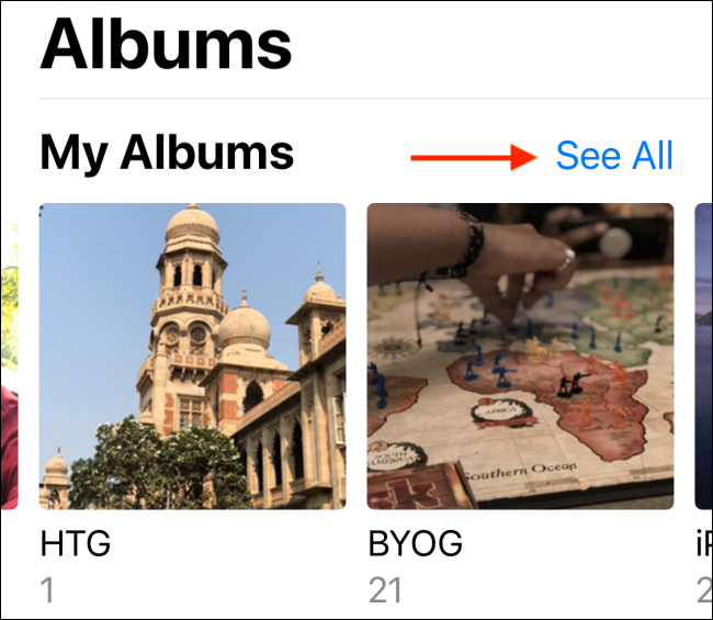 see all option in albums section of the photos app