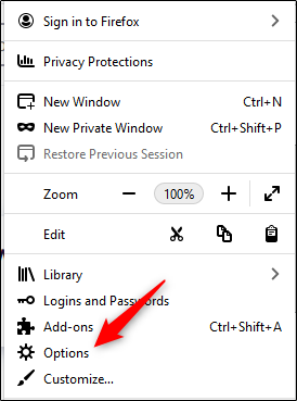 select options in mozilla firefox menu