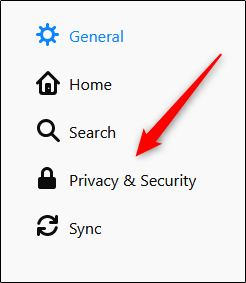 select privacy and settings option in mozilla firefox