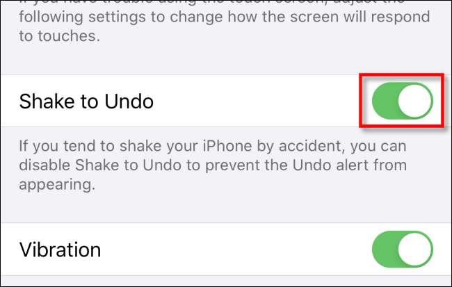 shake to undo option in accessibility