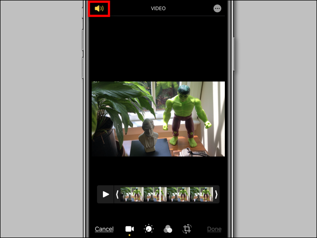tap on speaker icon to mute the audio from a video