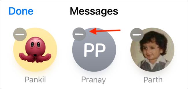 unpinning a conversation in messages app