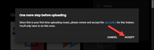 accept the youtube music policy to upload music