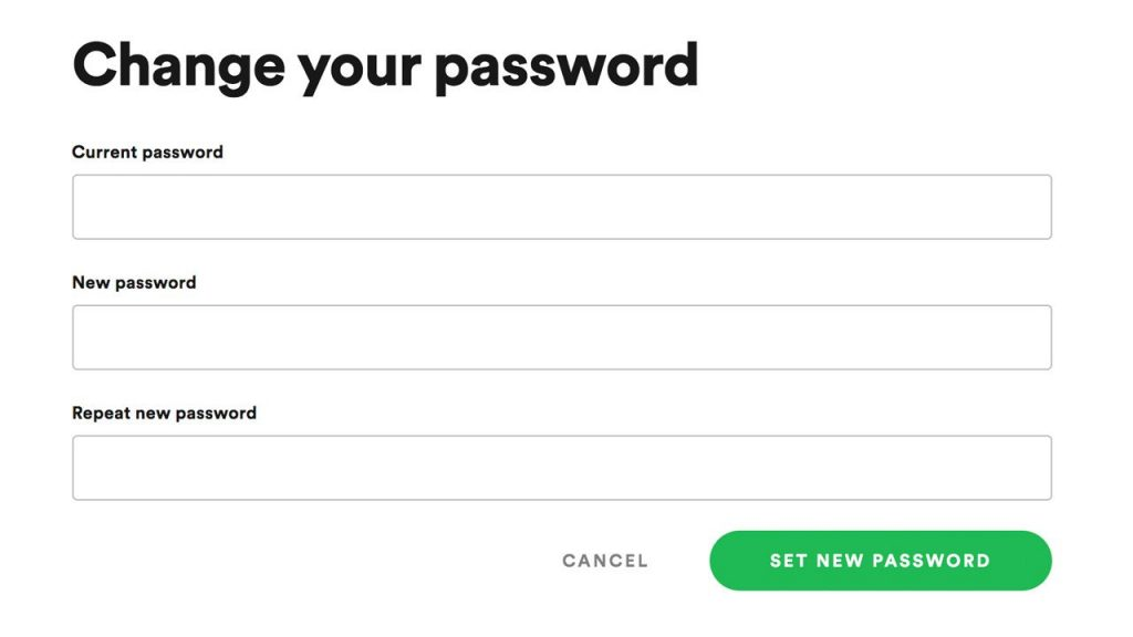 change your spotify accounts password