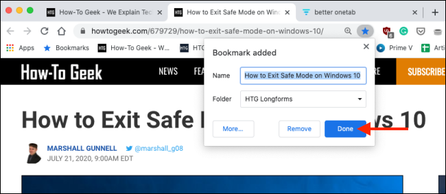 click on done after bookmarking a tab on google chrome
