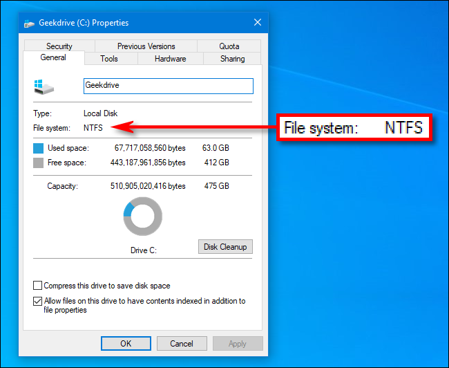 file system type for a drive on windows 10