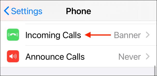 incoming call settings
