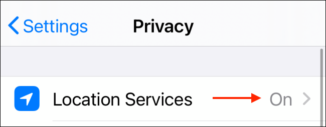 location services for apps on iPhone