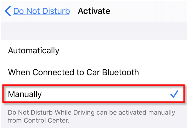 manually activate the do not disturb while driving option