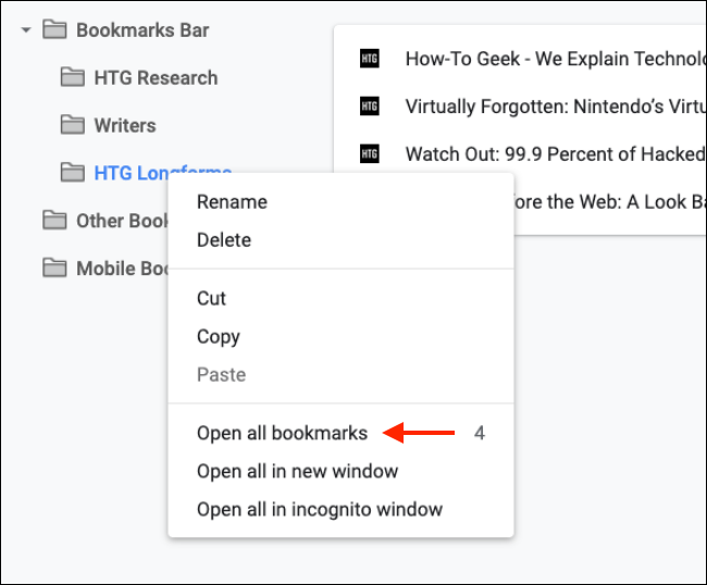 open the bookmark or delete it in google chrome bookmark manager