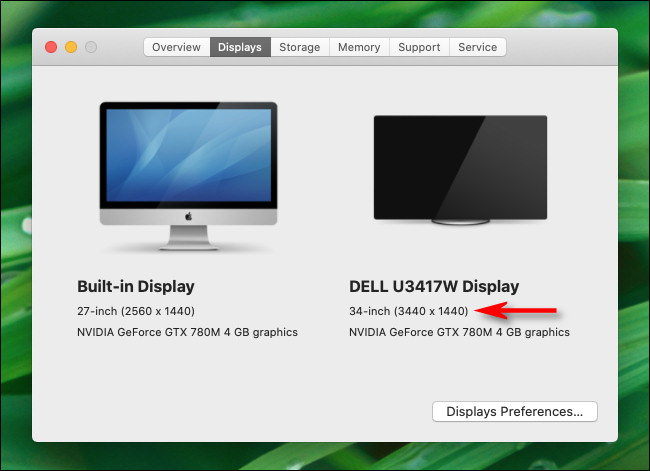 screen resolution in system preferences