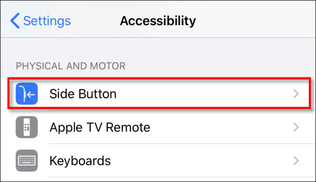 side button option in accessibility