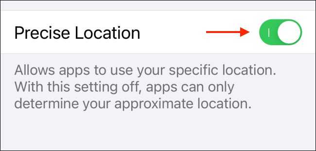 toggle the switch to enable or disable precise location for apps