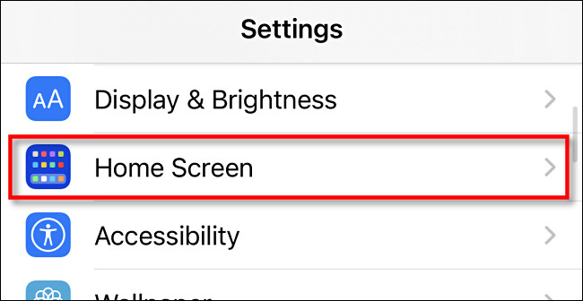 Home Screen option in Settings on iOS 14 iPhone