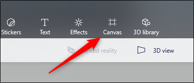click on Canvas option in Paint 3D