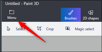click on the menu button in paint 3D