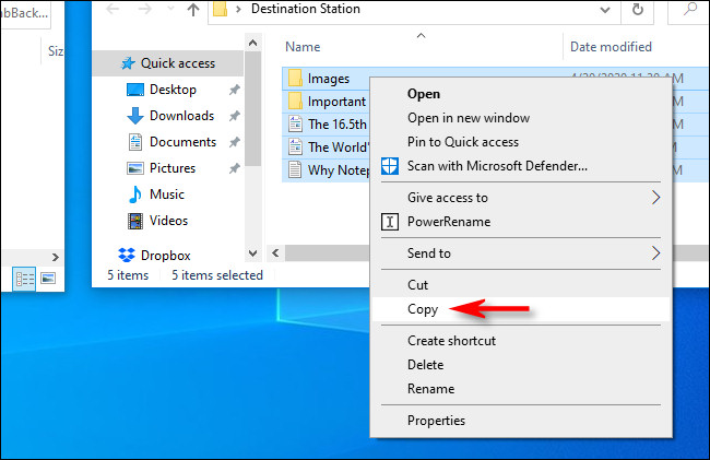 copy the files and paste it to destined folder