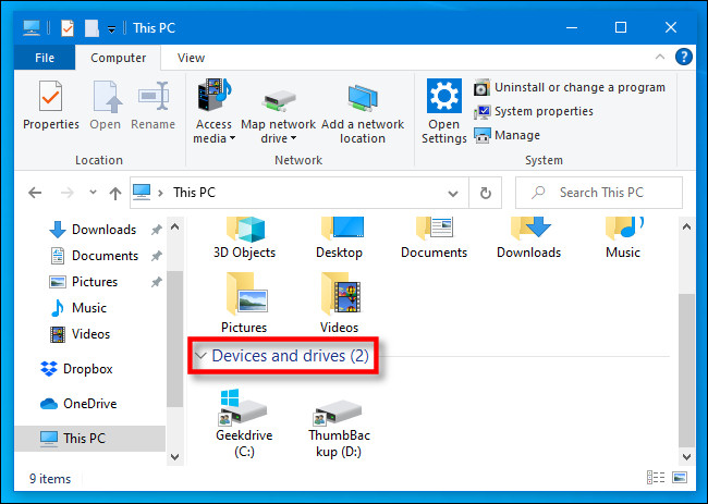 devices and drivers in File explorer