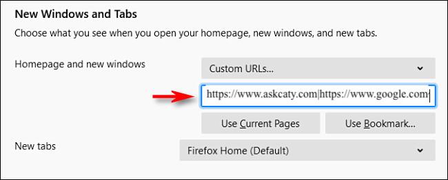 enter the websits URLs to set custom homepage in Mozilla Firefox