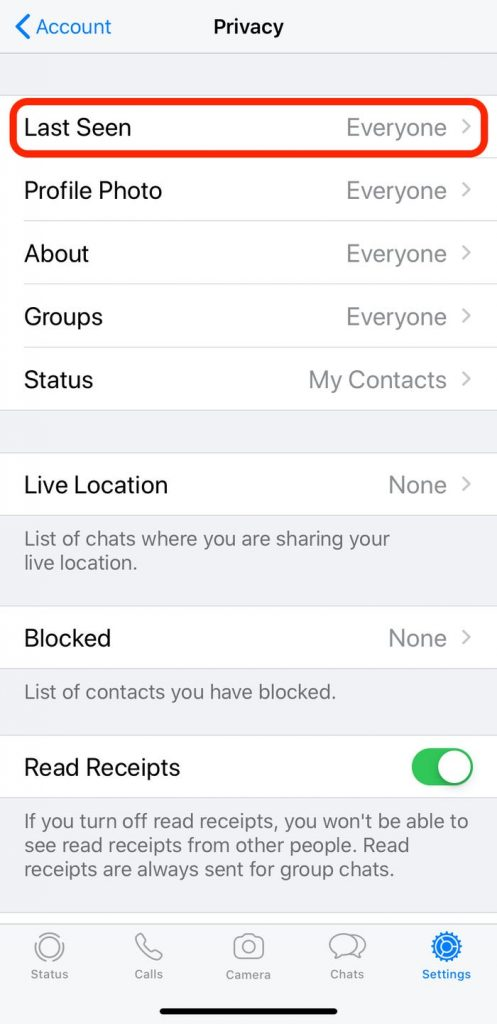 last seen settings in privacy settings on whatsapp