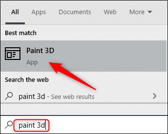 open Paint 3D by using the search feature