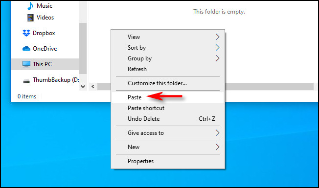 paste the files to the destined folder