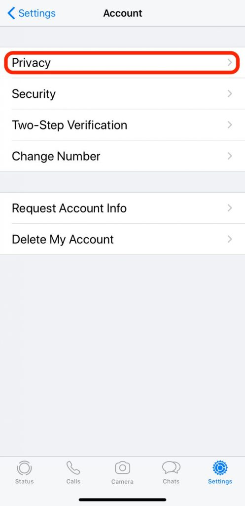 privacy option in account settings
