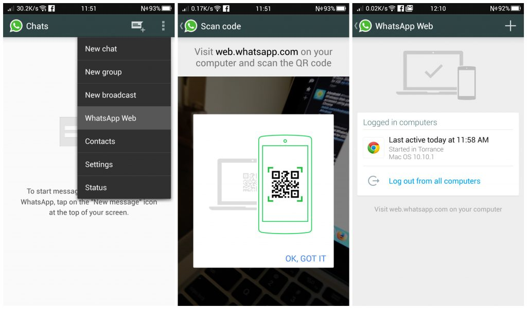 scan the QR code on your device to log-in whatsapp web