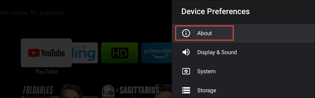 select about in deivce preferences on android TV