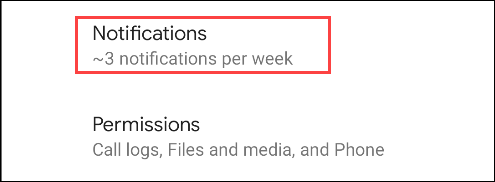 select notifications settings of the app