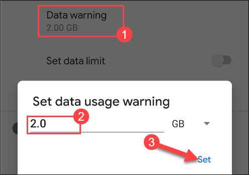 setting data warning on android