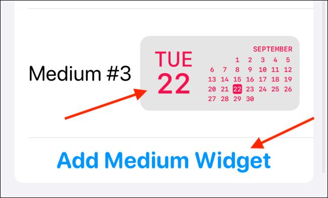 tap on add medium widget in widgetsmith app
