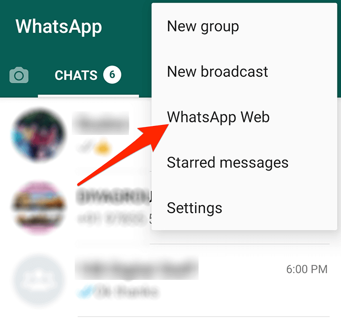 whatsapp web option on android