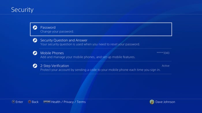 Password option in Security section of PSN
