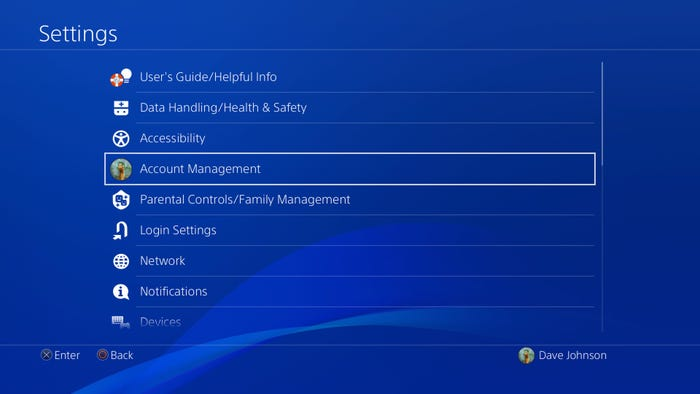 account management option in Settings on PSN