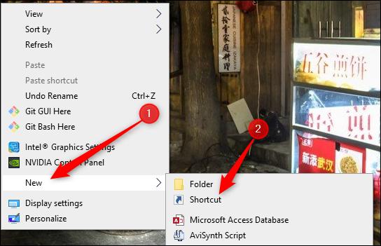 create a new shortcut in windows 10 PC
