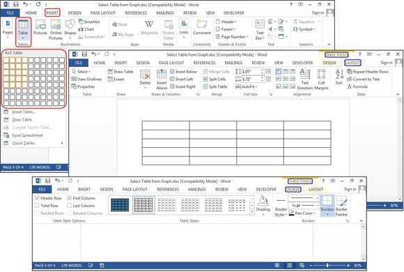 create table in ms word