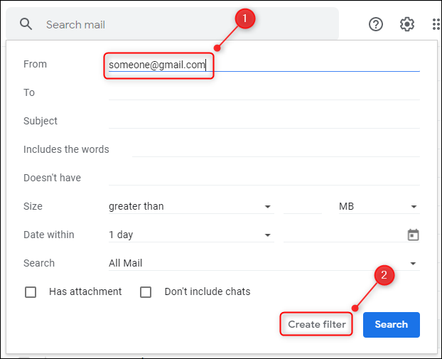 enter the email address of the gmail user to block emails from them