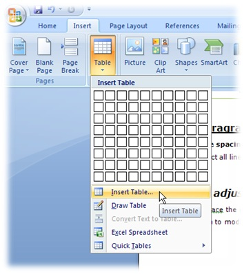 inserting table in ms word