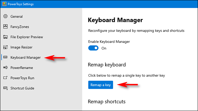 remap a key with powertoys settings