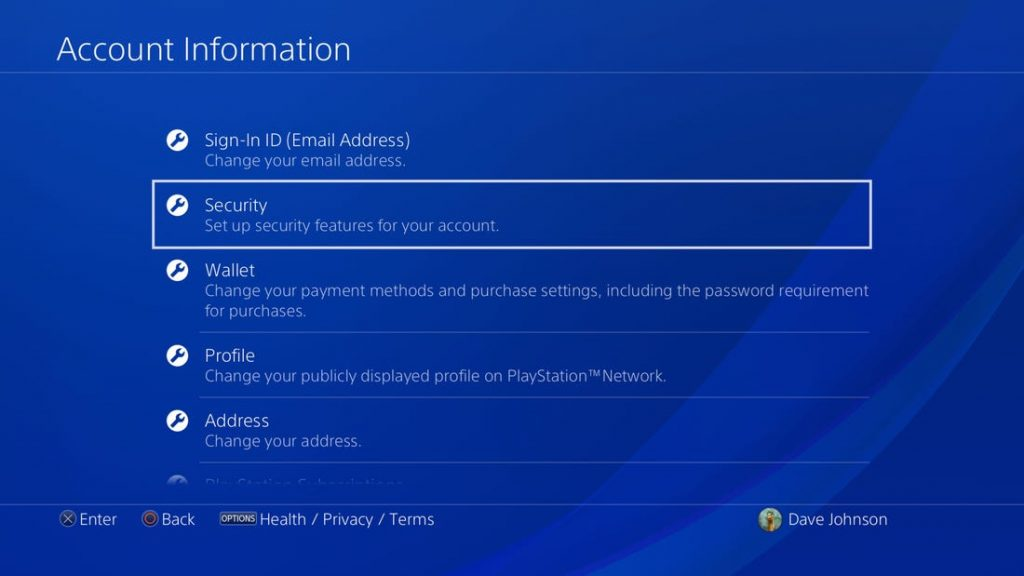 security option in account information on PSN
