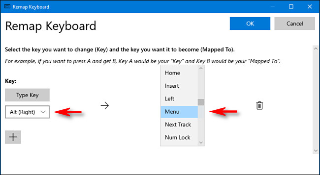 select a key to assign as menu key