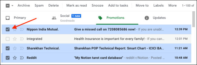select multiple emails to mark as read on gmail